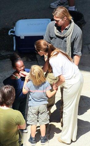 Brad Pitt, Shiloh, Zahara, Angelina Jolie