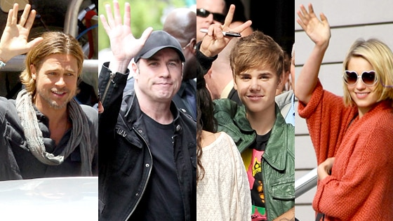 Brad Pitt, John Travolta, Justin Bieber, Dianna Agron