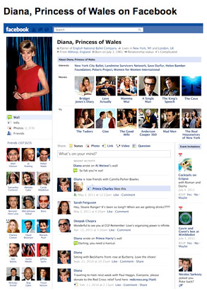 Fake Princess Diana Facebook Page