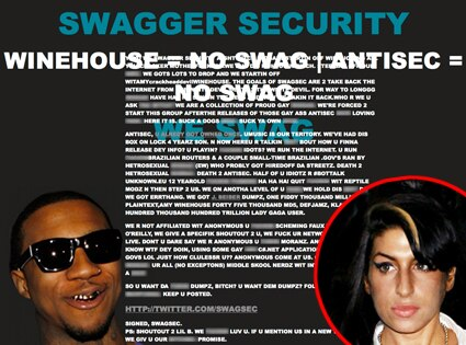 Amy Winehouse website, hacked
