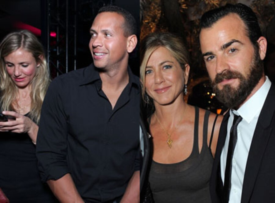 Jennifer Aniston, Justin Thereoux, Cameron Diaz, Alex Rodriguez