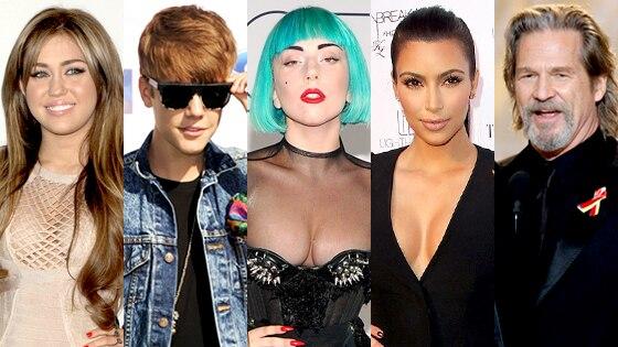 Miley Cyrus, Justin Bieber, Lady Gaga, Kim Kardashian, Jeff Bridges