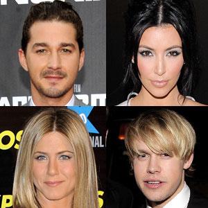 Kim Kardashian, Shia Labeouf, Chord Overstreet, Jennifer Aniston