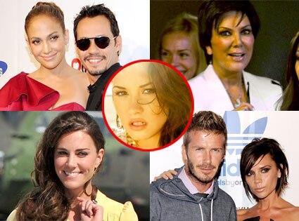 Jennifer Lopez, Kris Jenner, Marc Anthony, Kate Middleton, David Beckham, Victoria Beckham, Demi Lovato