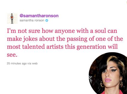 Amy Winehouse, Sam Ronson Tweet