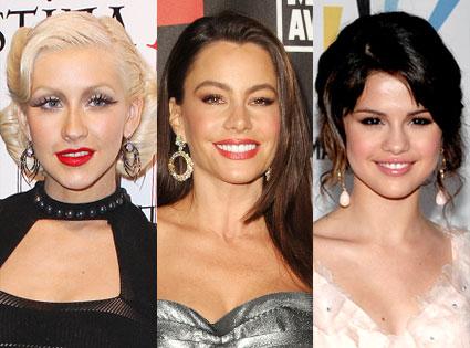 Selena Gomez, Sofia Vergara, Christina Aguilera