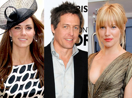 Kate Middleton, Hugh Grant, Sienna Miller