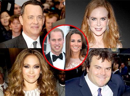 Tom Hanks, Nicole Kidman, Jennifer Lopez, Jack Black, Catherine Duchess of Cambridge, Prince William Duke of Cambridge