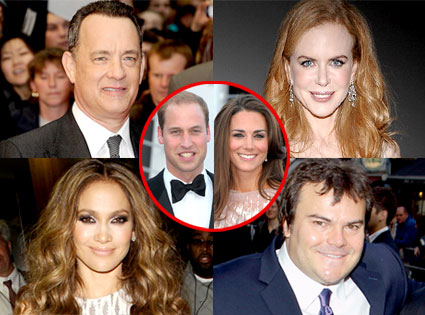 Tom Hanks, Nicole Kidman, Jennifer Lopez, Jack Black, Catherine Duchess of Cambridge, Prince William Duke of Cambridge