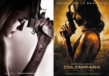 Wanted, Angelina Jolie, Colombiana, Zoe Saldana