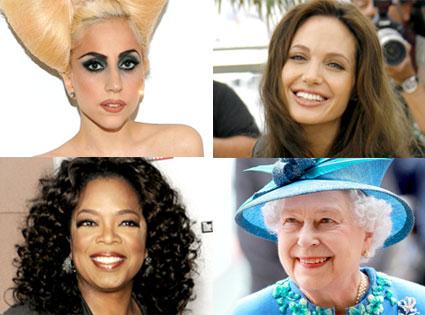 Lady Gaga, Angelina Jolie, Oprah Winfrey, Queen Elizabeth