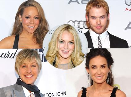 Mariah Carey, Kellan Lutz, Ellen Degeneres, Demi Moore, Lindsay Lohan