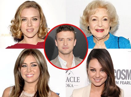 Scarlett Johansson, Betty White, Miley Cyrus, Mila Kunis, Justin Timberlake