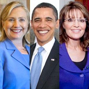 Hillary Clinton, President Barack Obama, Sarah Palin