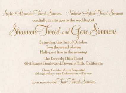 Gene Simmons, Shannon Tweed, Wedding Invitations