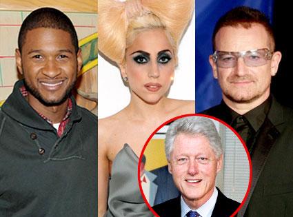 Usher, Lady Gaga, Bono, Bill Clinton
