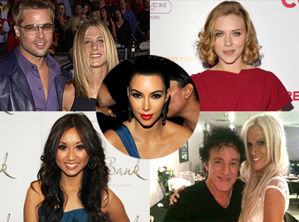 Brad Pitt, Jennifer Aniston, Scarlett Johansson, Brenda Song, Michaele Salahi, Neal Schon, Kim Kardashian