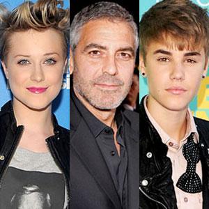 Evan Rachel Wood, George Clooney, Justin Bieber