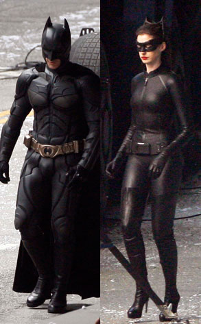 Anne Hathaway, Christian Bale, Dark Knight Rises Set
