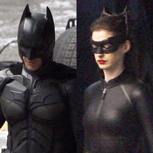 Anne Hathaway, Christian Bale, Dark Knight Rises Set