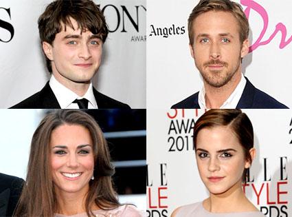 Daniel Radcliffe, Ryan Gosling, Kate Middleton, Emma Watson, King of Summer, Queen of Summer