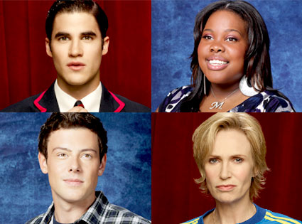 Glee, Darren Criss, Amber Riley, Cory Monteith, Jane Lynch