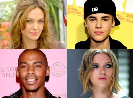 Angelina Jolie, Justin Bieber, Mehcad Brooks, Scarlett Johansson
