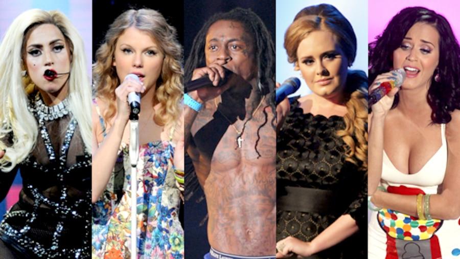 Lady Gaga, Taylor Swift, Lil Wayne, Adele, Katy Perry