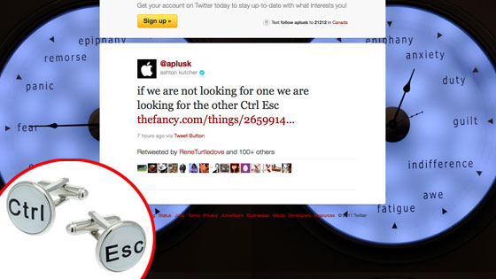 Ashton Kutcher, Twitter, Cuff Links