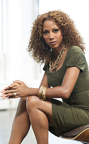 Holly Robinson Peete filming a scene for Celebrity ...