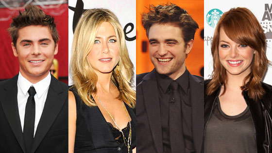 Zac Efron, Robert Pattinson, Jennifer Aniston, Emma Stone