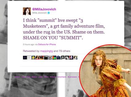 Milla Jovovich, Twitter