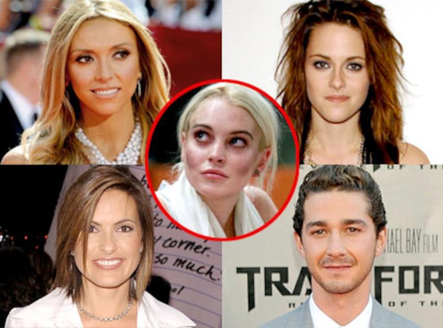 Giuliana Rancic, Kristen Stewart, Mariska Hargitay, Shia LaBeouf, Lindsay Lohan