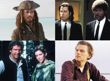 Johnny Depp, Pirates, John Travolta, Samuel L. Jackson, Pulp Fiction, Harrison Ford, Star Wars, Leonardo DiCaprio, Titanic