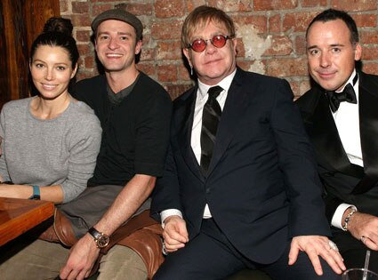 Justin Timberlake, Jessica Biel, Elton John, David Furnish