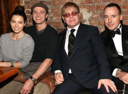 Justin Timberlake, Jessica Biel, Elton John, David Furnish