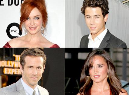 Christina Hendricks, Nick Jonas, Ryan Reynolds, Pippa Middleton