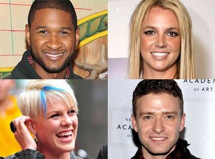 Usher, Pink, Justin Timberlake, Britney Spears