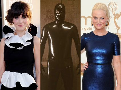 zooey deschanel, amy poehler, rubber man, american horror story