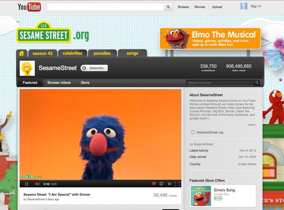 Sesame Street YouTube page