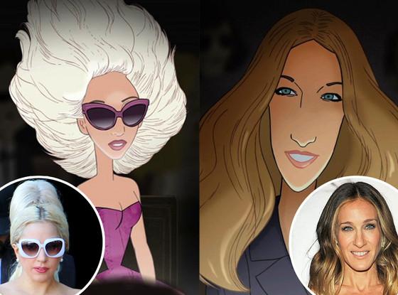 Lady Gaga, Sarah Jessica Parker, Barney's window
