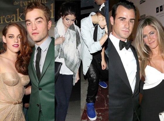 Selan Gomez, Justin Bieber, Kristen Stewart, Robert Pattinson, Justin Theroux, Jennifer Aniston