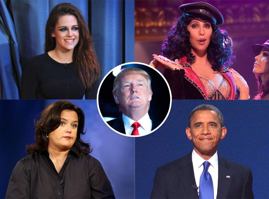Rosie O'Donnell, Cher, Barack Obama, Kristen Stewart, Donald Trump