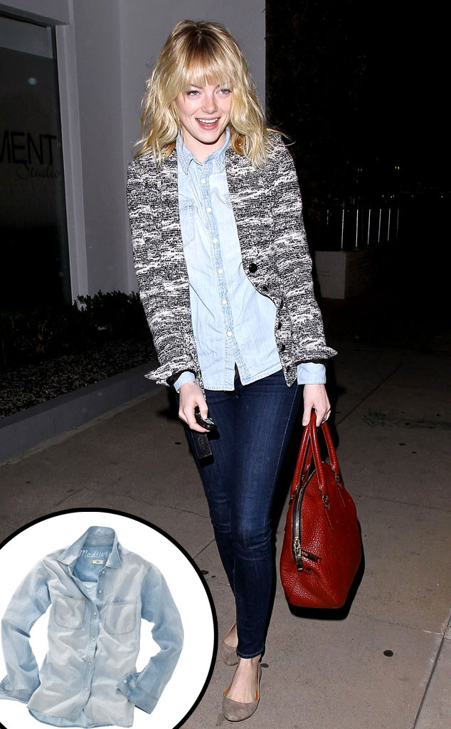 Emma Stone, Chambray Denim Shirt