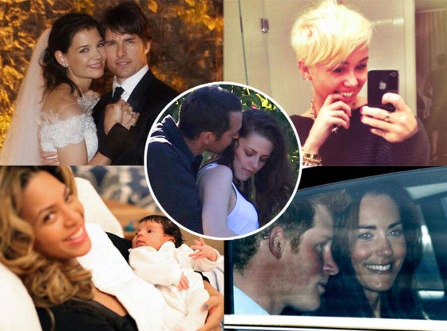 Katie Holmes, Tom Cruise, Miley Cyrus, Blue Ivy Carter, Beyonce, Kate Middleton, Prince Harry, Rupert Sanders, Kristen Stewart