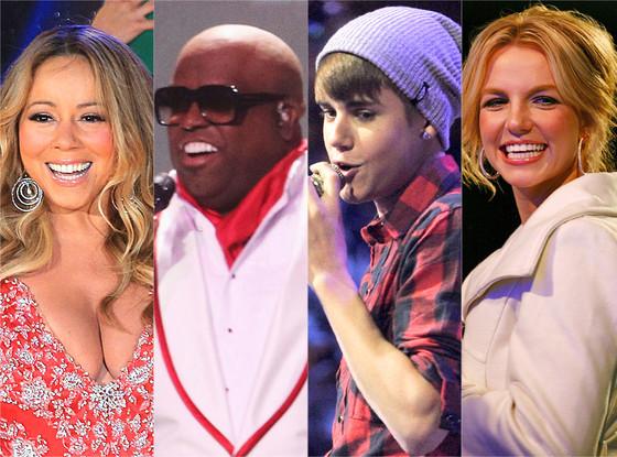 Britney Spears, Justin Bieber, Cee Lo Green, Mariah Carey