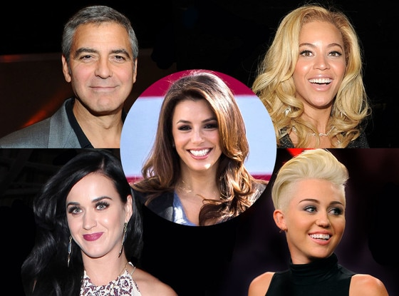 Beyonce, George Clooney, Katy Perry, Miley Cyrus, Eva Longoria