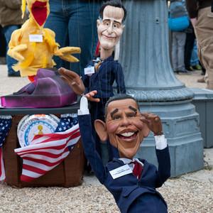 President Barack Obama, Mitt Romney, Million Puppet March