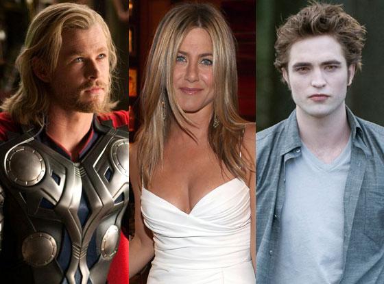Jennifer Aniston, Chris Hemsworth, Robert Pattinson