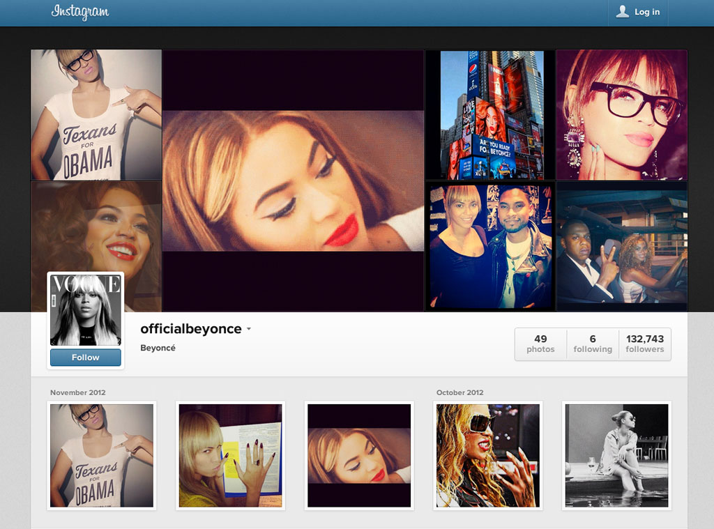 Beyonce's instagram profile